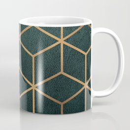Dark Teal and Gold - Geometric Textured Gradient Cube Design Coffee Mug