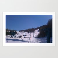 skiing Art Prints featuring skiing place by westchestrian_art