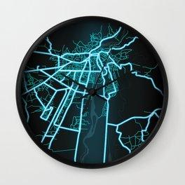 Kutaisi, Georgia, Blue, White, Neon, Glow, City, Map Wall Clock