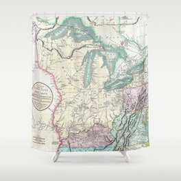Vintage Map of The Great Lakes & Midwest (1801) Shower Curtain