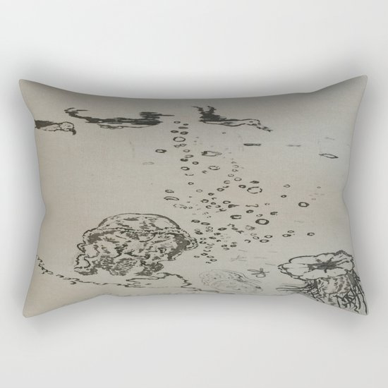 Under The Sea Green Black and White Rectangular Pillow