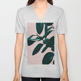 Ficus Elastica Blush Green Vibes #1 #foliage #decor #art #society6 Unisex V-Neck