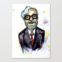hayao miyazaki Canvas Prints featuring Hayao Miyazaki by Grant Hunter