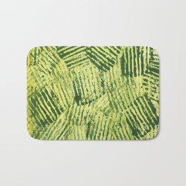 Green striped abstract Bath Mat