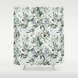 Green white blush pink watercolor geometrical floral Shower Curtain