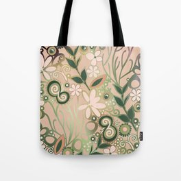 Detailed square of peach and green floral tangle Tote Bag