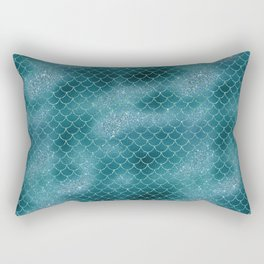 Teal Mermaid Sclaes Rectangular Pillow