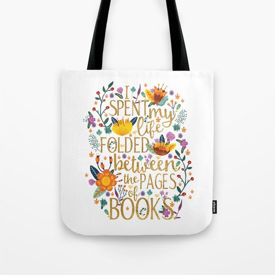 Folded Between the Pages of Books - Floral Tote Bag