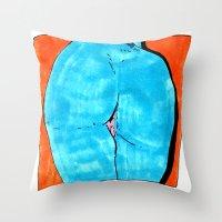 butt Throw Pillows featuring blue butt by withapencilinhand