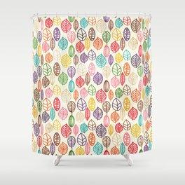 Custom Multicolor Leaves Pattern Shower Curtain