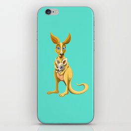 Cute kangaroo and baby cartoon iPhone Skin