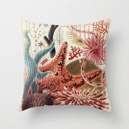 Vintage Barrier Reef Marine Life Illustration Throw Pillow