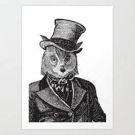 Owl Portrait | 1 of 2 | The Owl and the Pussycat Set | Anthropomorphic Owl | Black and White | Art Print