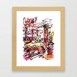 The Red Bedroom Interior Framed Art Print