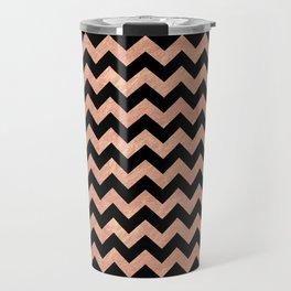 Chevron Pattern Rose Gold Travel Mug