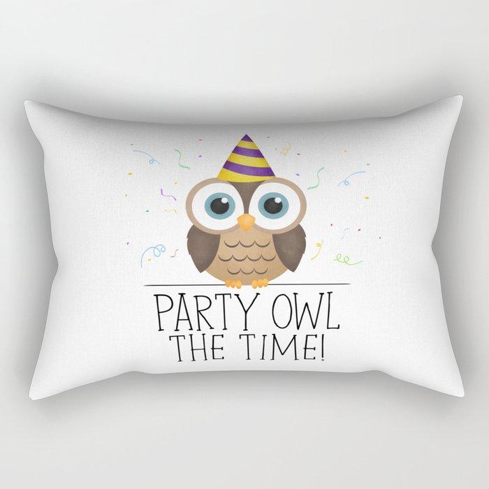 Party Owl The Time Rectangular Pillow