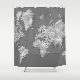 Dark gray watercolor world map with cities Shower Curtain