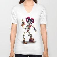 invader zim V-neck T-shirts featuring Invader Skull by Ali GULEC