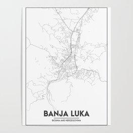 Minimal City Maps - Map Of Banja Luka, Bosnia And Herzegovina. Poster