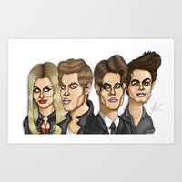 vampire diaries Art Prints featuring The Originals The Vampire Diaries Caricature Artwork by GinjaNinja1801
