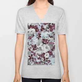 Boho burgundy white pastel marble floral pattern Unisex V-Neck
