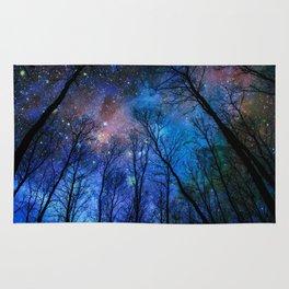 Black Trees Dark Blue Space Rug