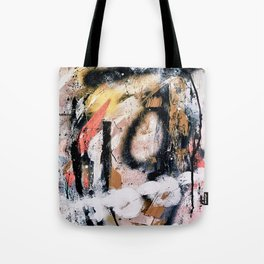 Lightning Soul: a vibrant colorful abstract acrylic, ink, and spray paint in gold, black, pink Tote Bag
