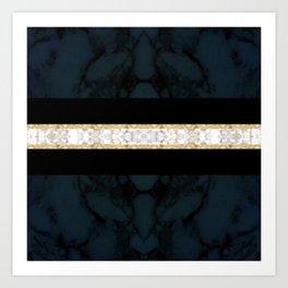 Midnight Blue Marble with Gold Glitter Ribbon Art Print