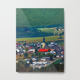 The village, the forest and the mountains Metal Print
