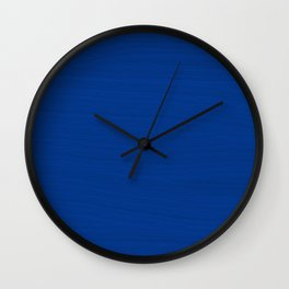 Slate Blue Brush Texture - Solid Color Wall Clock