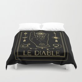 Le Diable or The Devil Tarot Gold Duvet Cover