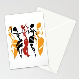 Abstract African dancers silhouette. Figures of african women. Stationery Cards