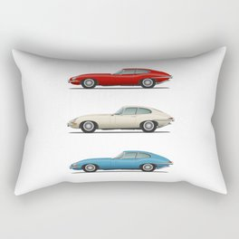Jaguar E Type Fixed Head Coupe Red White and Blue Rectangular Pillow