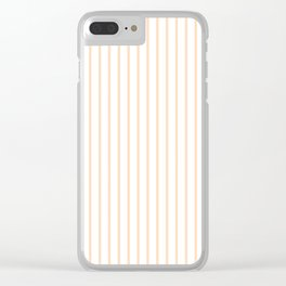 Soft Peach Pinstripe on White Clear iPhone Case