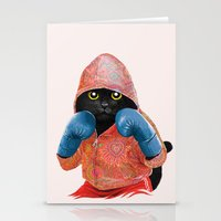 boxing Stationery Cards featuring Boxing Cat 2  by Tummeow