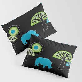 African Rhino (Cool colors) - by Kara Peters Pillow Sham
