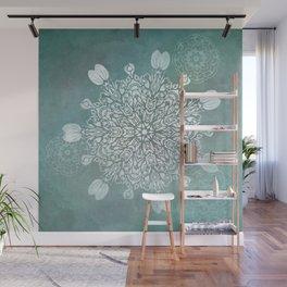 Turquoise Batik Mandala Float Wall Mural