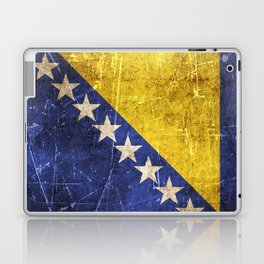 Vintage Aged and Scratched Bosnian Flag Laptop & iPad Skin