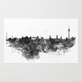 Black and white Berlin watercolor skyline Rug