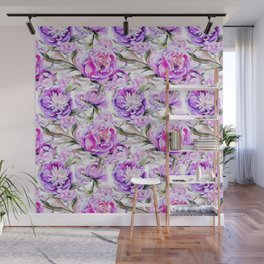 Modern lilac violet watercolor hand painted floral motif Wall Mural