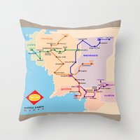 middle earth Throw Pillows featuring Middle-Earth metro map by tuditees