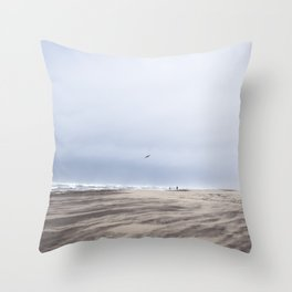 Bird in Flight Over Grayland Beach, Washington Throw Pillow