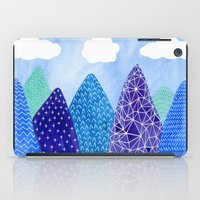 mountains iPad Cases featuring Mountains by messy bed studio