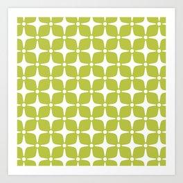 Mid Century Modern Star Pattern Chartreuse Green 2 Art Print