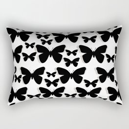 Butterfly Black and White Pattern Rectangular Pillow