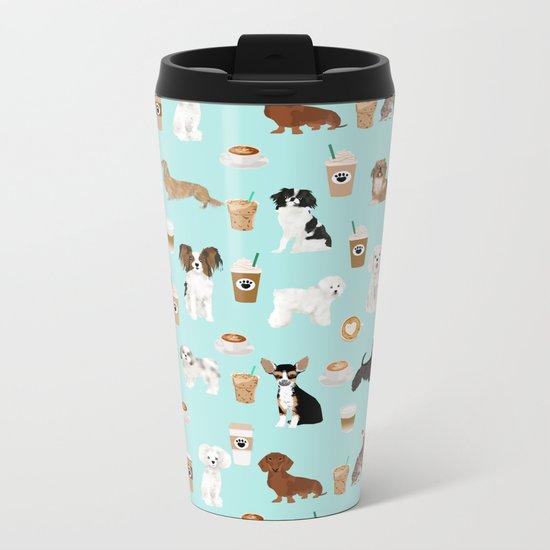 Coffee Dogs cute miniature dog breeds chihuahua bichon terrier Shih tzu pomeranian latte coffees Metal Travel Mug