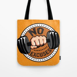 No Excuses Gym Fitness Motivational Quote Tote Bag