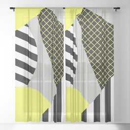 Eclectic Geometric - Yellow, Black And White Sheer Curtain