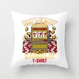 Vintage Slot Machine print Poker Casino Gambling Throw Pillow