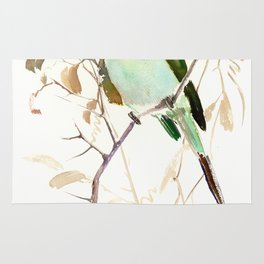 White-Throated Bee-Eater, Sage green, brown, olive green Rug